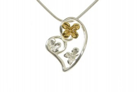 Silver and Gold Hearts and Flowers Pendant without Chain