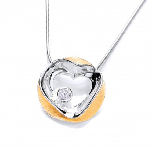 Circled Love' Gold Vermeil Plated and Silver Pendant without chain