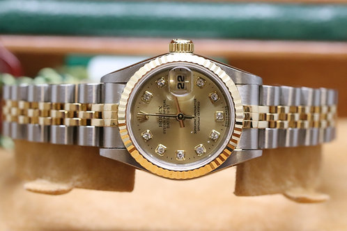 Ladies Rolex Datejust 18ct Gold and Steel Diamond Dot