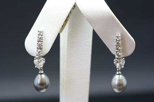 Pearl and Diamond Drop Earrings in 18ct White Gold