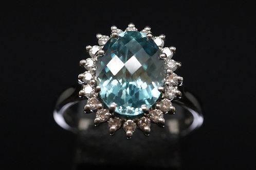 Blue Zircon and Diamond in 18ct White Gold