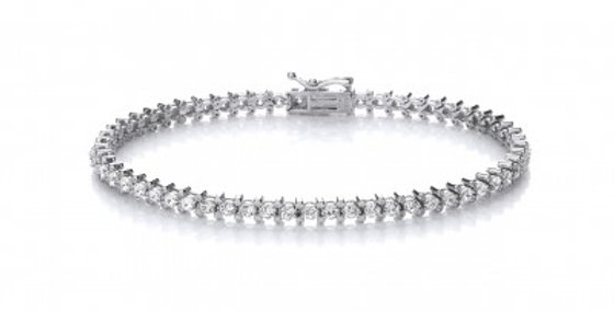 Silver and CZ Dainty Bracelet