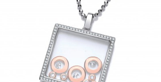 Square Celestial Pendant with Rose Gold Moons without Chain