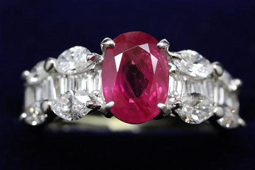 Platinum Ruby and Diamond Dress Ring