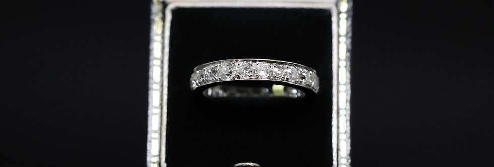 18ct White Gold Old Cut Diamond Full Eternity Ring