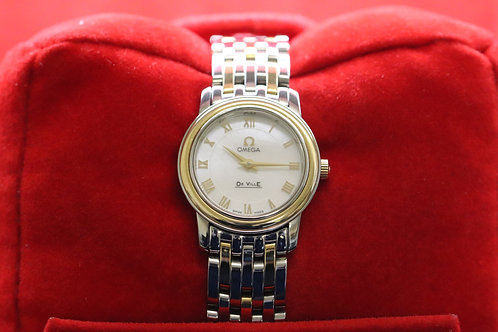Ladies Omega De-Ville 18ct Gold and Steel M.O.P Dial