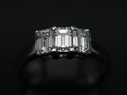 18ct White Gold 'Emerald Cut' Diamond Three Stone