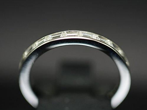 Platinum Baguette Cut Diamond Half Eternity Ring