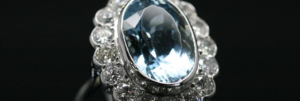 18ct White Gold Diamond And Aquamarine Halo Ring