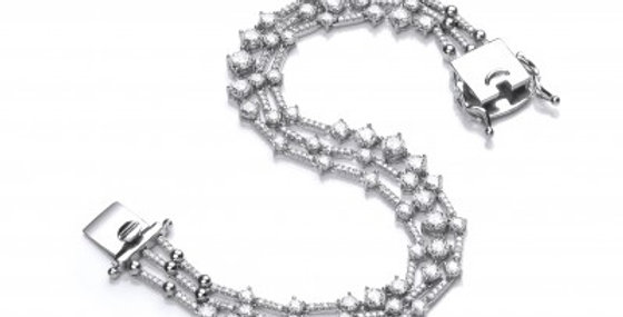 Silver and CZ Triple Strand Retro Bracelet