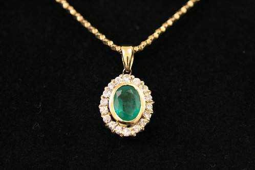 18ct Gold Diamond and Emerald Pendent on 9ct Yellow Gold Chain
