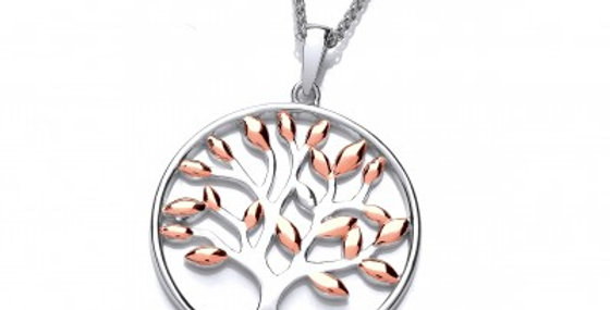 Silver and Rose Gold Tree of Life Pendant without Chain