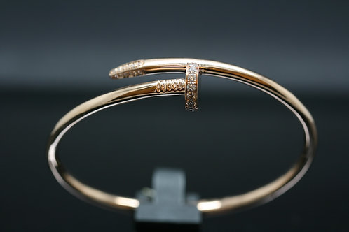 18ct Rose Gold Diamond Nail Bangle