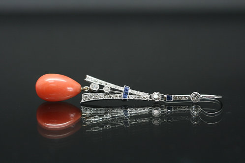 Platinum Art Deco Diamond, Square Cut Sapphires and Coral Earrings