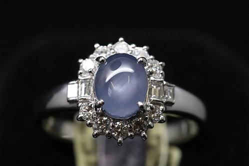 Platinum and Diamond Star Sapphire Ring