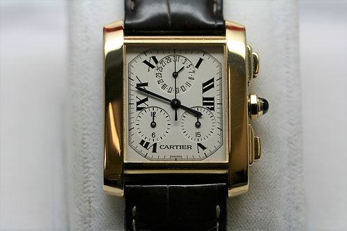 Gents 18ct Gold Cartier Tank Francais Chronoflex - Super-Quartz