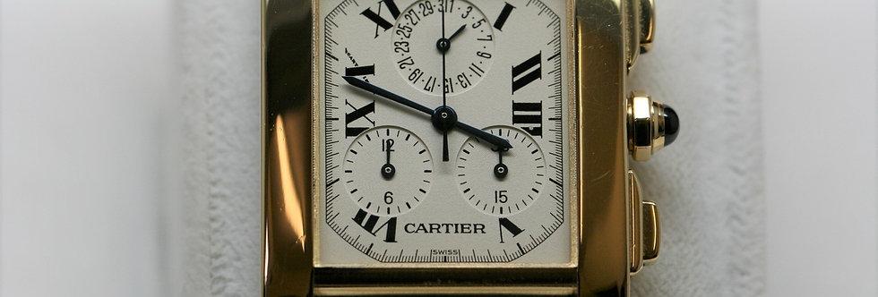 Gents 18ct Gold Cartier Tank Francais Chronoflex - Super-Quartz