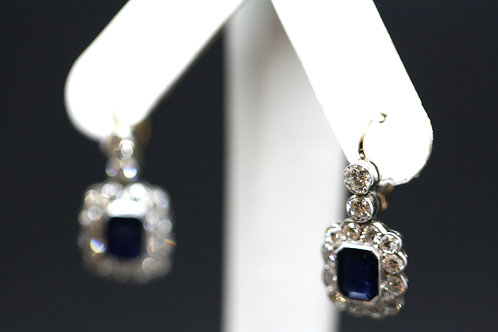 18ct White Gold and Platinum Diamond and Sapphire Earrings
