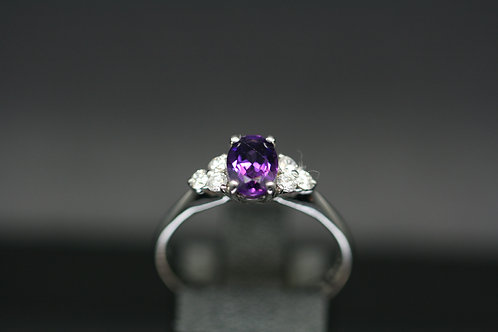 Solid White Gold Amethyst and Diamond Ring