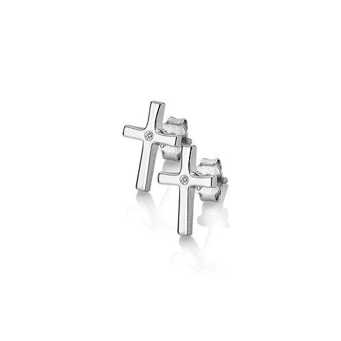 Diamond Amulet Cross Earrings
