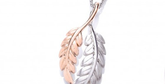 Silver and Rose Gold Feather Pendant without chain
