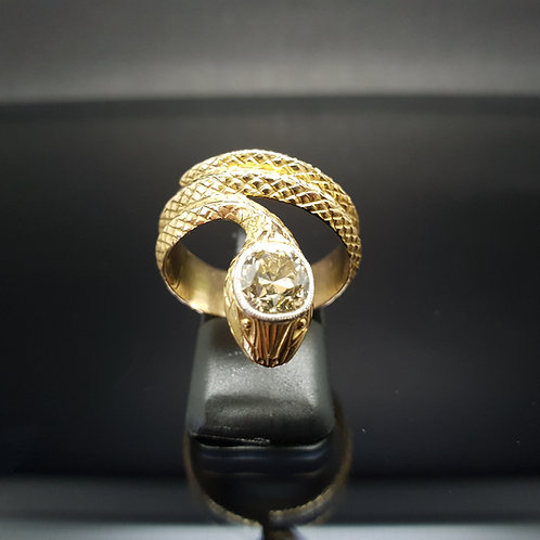 Victorian Snake Ring 14ct Yellow Gold & Diamond