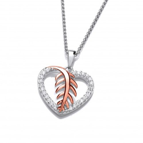 Feathered Heart Pendant without Chain