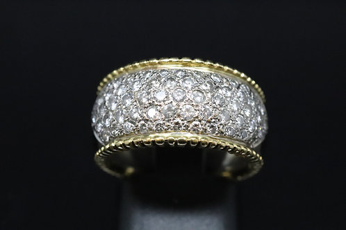 18ct Yellow Gold and Diamond Pavé Set Ring