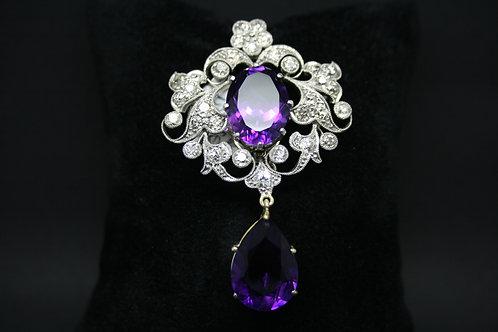 Victorian Amethyst and Diamond Brooch/Pendant