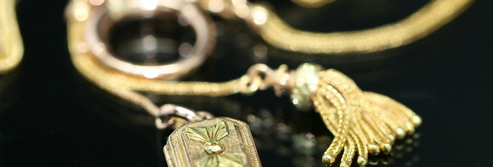 Victorian foxtail watch chain with double sliders locket and tassles