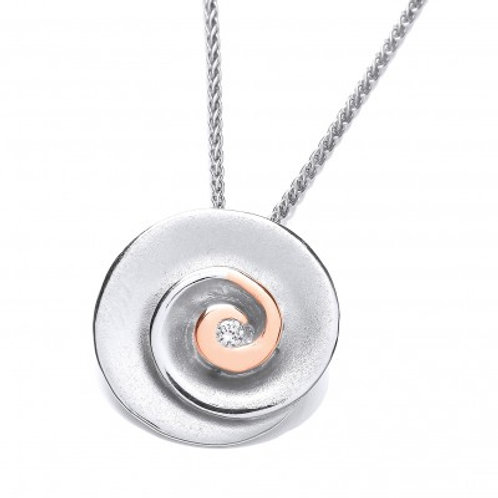 Rose Gold and Silver Swirl Pendant without chain