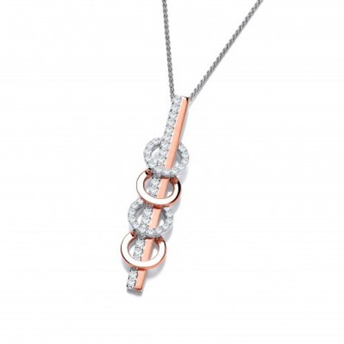 Silver and Rose Gold CZ Circles and Bar Pendant without Chain