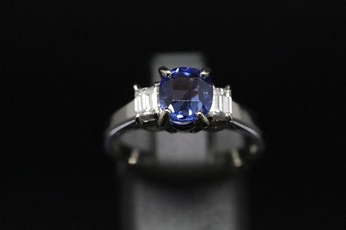 Platinum Sapphire and Diamond Three-Stone Ring
