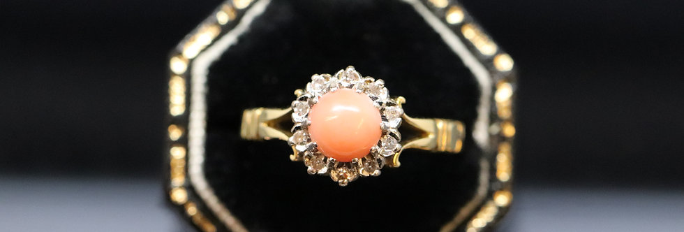 Coral and Diamond Ring in 18ct Gold