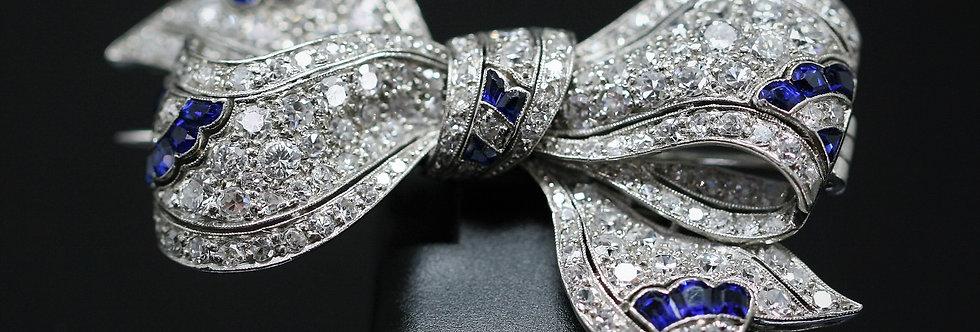 Secondhand Art Deco Platinum Sapphire & Diamond Brooch