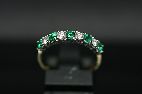 Diamond and Emerald Half Eternity Ring in 18ct Yellow Gold