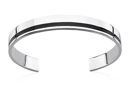 Fred Bennett Gents Sterling Silver and Black Resin Flat Torque Bangle