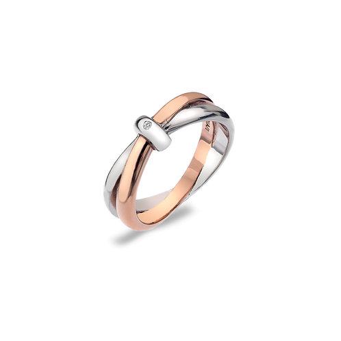 Eternity Silver & 18ct Rose Gold Vermeil Interlocking Ring