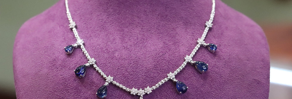 18ct White Gold Cabochon Sapphire and Diamond Necklace