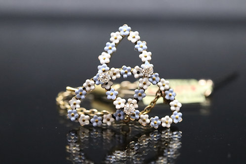 Enamel and Diamond Gold Brooch