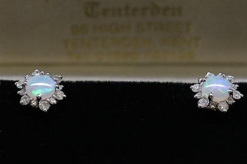 Jelly Opal and Diamond Earrings