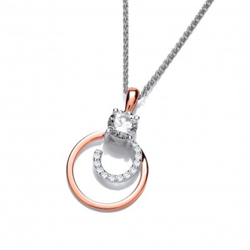 Silver, Rose Gold and Cubic Zirconia Mini Swirl Pendant Without Chain