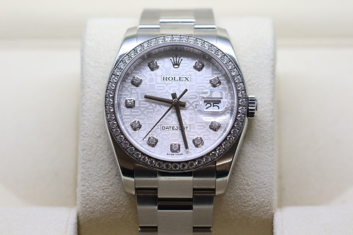 Rolex Datejust 36mm Jubilee Dial with Diamond Dot and Diamond Bezel on Oyster