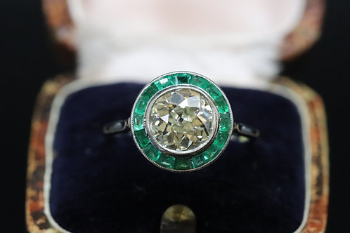 Original Art Deco Emerald and Old Cut Diamond Ring