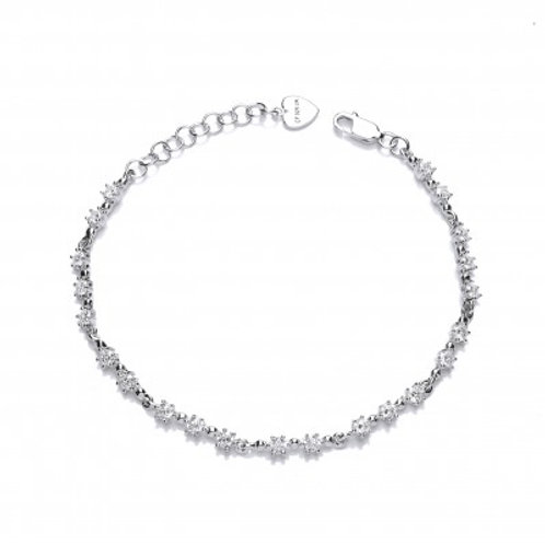 Silver and Mini CZ Stars Bracelet