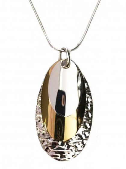 Silver and Golden Triple Ovals Pendant without Chain