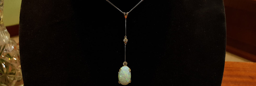 White Gold Diamond and Opal Pendant on Chain