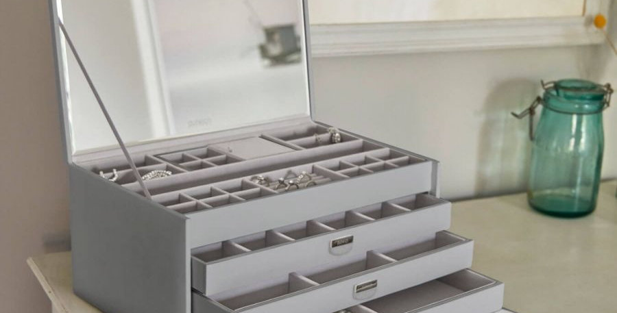 NOTTING HILL GREY EXTRA-LARGE JEWELLERY BOX