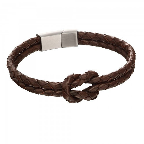Fred Bennett - Double Row Knot Brown Leather Bracelet