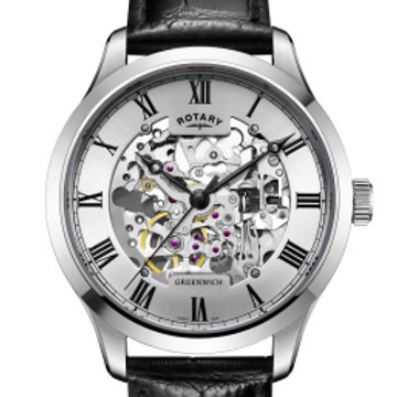 Rotary White Stainless Steel Skeleton Watch